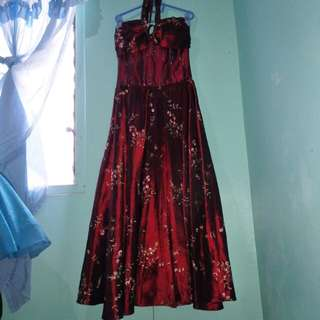 Maroon Long Gown with embroidered design