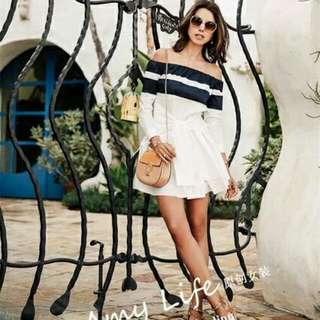 Off Shoulder Blue and White