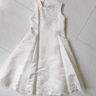 Kids Bridal Flower Girl Wedding White Lace Dress with Pearl and Floral Details