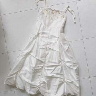 Kids Bridal Wedding Flower Girl White Dress with Beads Flower Details
