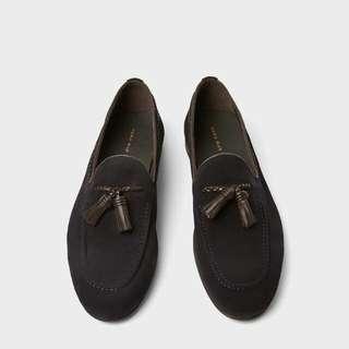 Sepatu Zara Pria (Navy Blue Leather Loafers)