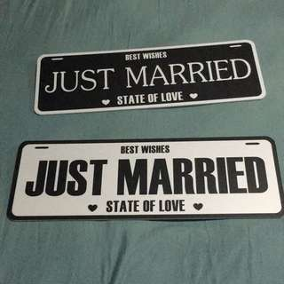 Just Married Signage for Wedding Decor