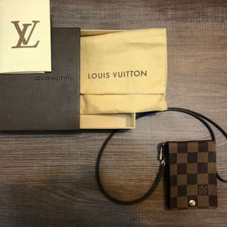 Rare Authentic LV PTE Cartes ID Band Damier Card Holder badge