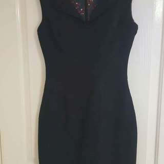 Review navy fitted midi dress (s 8)