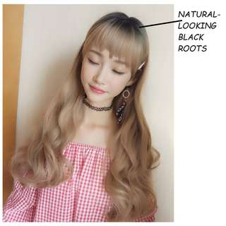 INSTOCK Korean Full Fringe Full Wig With Natural-looking Black Roots (Best-Selling) (Blonde/Brown/Natural Black/Chocolate Brown)