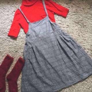 灰色日製 麻吊帶裙 日系 吊帶裙 連身洋裝