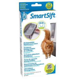 Catit Smartsift Biodegrable Litter Box Pull-Out Waste Bin Replacement Liners, 12 liners/pack