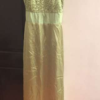 Lime Green Formal Gown With Bead Details