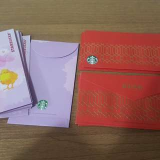 Starbucks 利是封共20個(12個雞仔圖案+8個新年快樂字句紅色) laisee red packets 星巴克