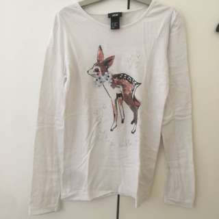 Kaos long white with deer