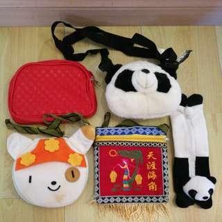 Toys bag, Souvenir, toys CD holder, panda pencil case