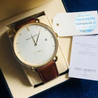 : GRAND ATLANTIC LINE Gold White Sand Leather Strap Brown PH-TGA-G-W-1M