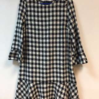Zara Black White Checkered Dress