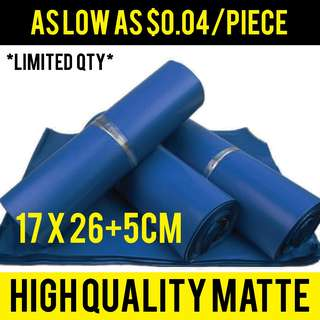 (Assorted quantity) MATTE BLUE Matte Polymailer poly mailers envelope courier bag wholesale bag mailing usage S 1730 17x30cm size
