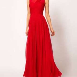 Red Maxi Silk Dress