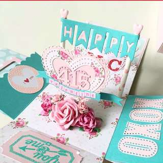 Happy Valentine day Explosion Boxcard in floral theme