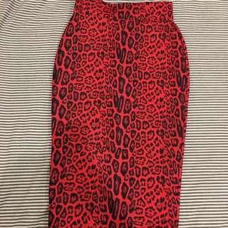 Red leopard print high waisted midi skirt