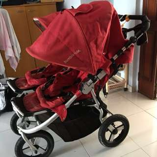 ON HOLD, it is overseas... Bumbleride Red Indie DOUBLE Stroller