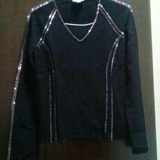 V領黑色厚上衣