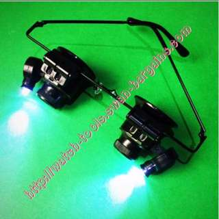 20x Magnifier spectacles Magnifying Eye Specs Glasses Loupe Lens Jewelry Watch Electronic Repair LED Light Tool