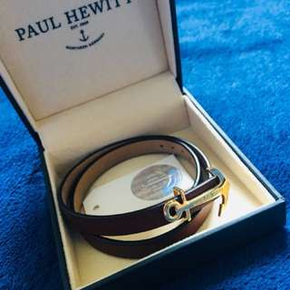 Paul Hewitt NORTH BOUND Gold anchor, Brown leather PH-WB-G-1M