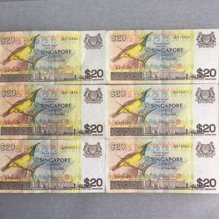 $20 Bird Series Singapore Twenty Dollars Note EF