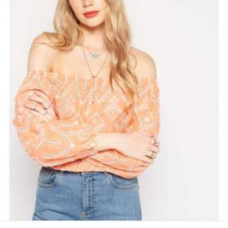 Miss Selfridge Coral Embroidered Top