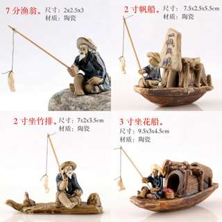 Bonsai Accessories: Chinese Figurine Fisherman Ceramic