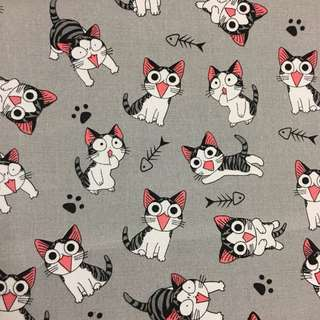 Cute catty 🐈 cotton canvas fabric/kain diy cloth