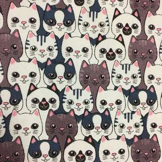 Cutie cat 🐱 cotton canvas fabric/kain diy cloth