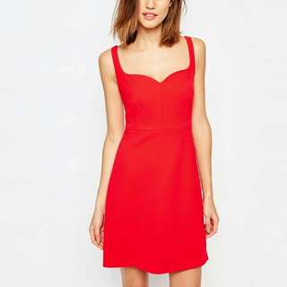 Warehouse red sweetheart neck bonded dress