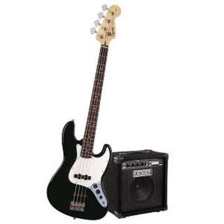 BN Fender Squier Affinity P Bass guitar Package with Rumble 15 Amplifier - Black