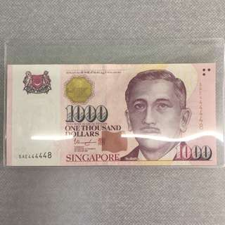 $1000 $1K 5AE 444448 SINGAPORE NOTE SOLID NUMBER