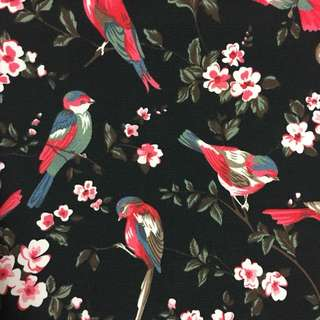 Vintage flower 🌷 & bird 🐦 cotton canvas fabric/kain diy cloth