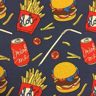 Burger & fries 🍔 cotton canvas fabric/kain diy cloth