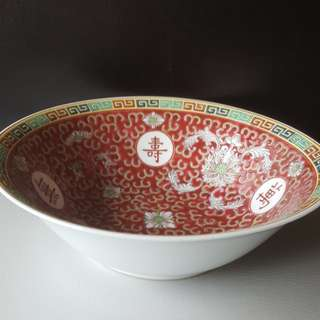 BN Oriental Vintage Authentic JingDeZhen 景德镇 WanShou WuJiang 万寿无疆 A Famille Rose Handpainted Collection- Porcelain Soup Bowl