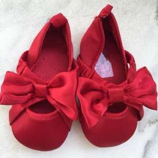 Brand New Red Satin Baby Shoes