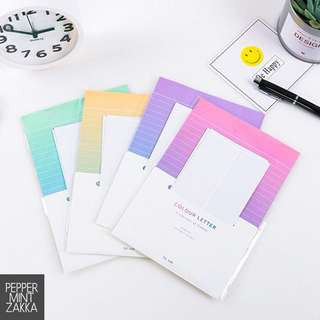 Color Letter - 2 envelopes 4 letter papers - 1 SET [Turquoise/Lilac/Yellow/Pink]