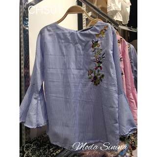 Blouse with flower designs