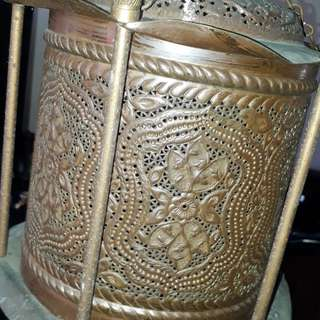 Antique Iranian Turkish  islamic pierced crafted brass copper lantern Chandler light  earlie 1900s /master crafting of the old masters rare/  No dealers   price fixed price subject to increse without notification