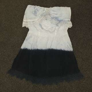 Ally Brand Blue Dip Dye Ombre Strapless Dress Lace Size Medium Short