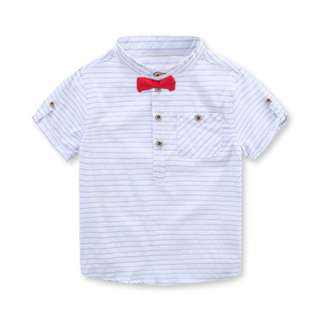 TZ034 Boys Mandarin Collar Striped Top with Bow