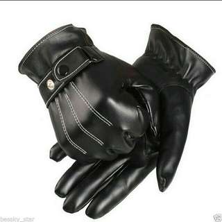 Men's Black Winter Leather Motorcycle Driving Full