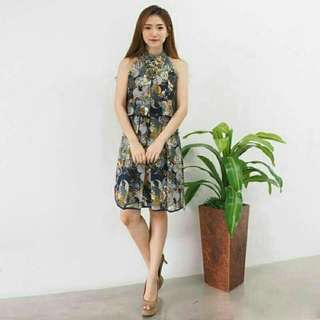 Vicky print dress REAL PICT