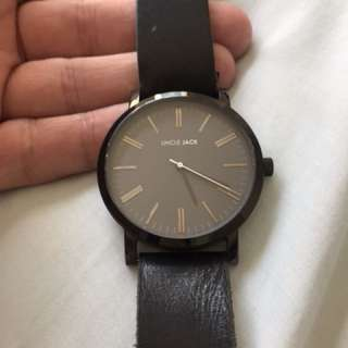 Uncle Jack black leather watch