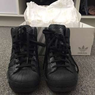 Black Leather Superstar Heeled Originals **NEW**