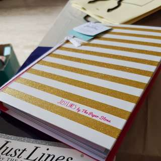 Just Lines hardcover glittery gold pink lined notebook by Paper Stone
