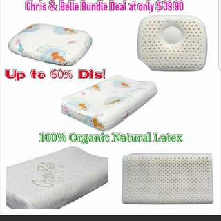 Must buy! BUY 1 GET 1 FREE! 2018  CLEARANCE SALE READY STOCKS! SUPER DUPER GOOD DEAL! Check it out or Chris & Belle 100% Organic 1 CHRIS & BELLE INFANT PILLOW & 1 KIDS 1 TO 3 YRS OLD CONTOUR PILLOW @ $39.90 ONLY!