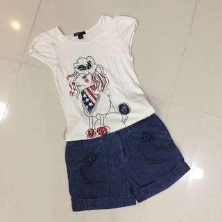 Girl's White Top & Denim Shorts