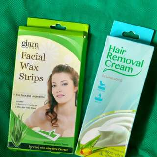 Hair removal cream and facial wax strips (with free hair curlers)